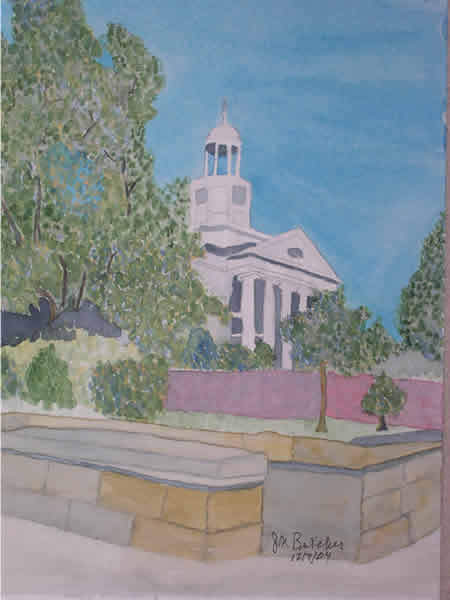 a watercolor of a white courthouse against a blue sky